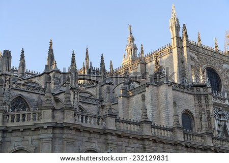 Roof of Seville cathedral, the biggest gothic cathedral in Europe