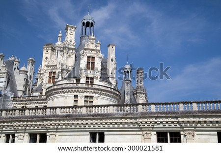 Roof of the Chateau de Chambord on the Loire, France - stock photo
