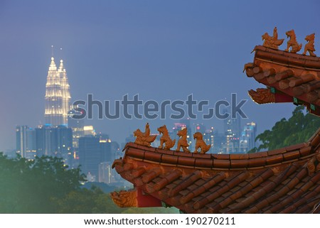 Roof of the chinese temple  in Kuala Lumpur. - stock photo