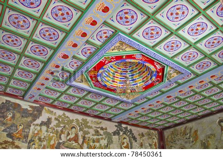 Roof of the Giant Wild Goose Pagoda, X'ian, China - stock photo