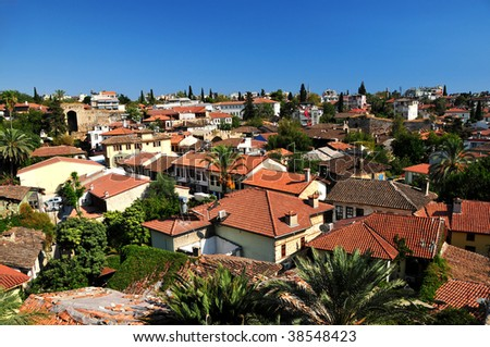 Roof  of the small city. - stock photo