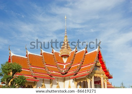 Roof of the temple in Thailand