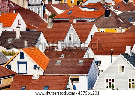 Roof of typical Norwegian houses in Stavanger. - stock photo