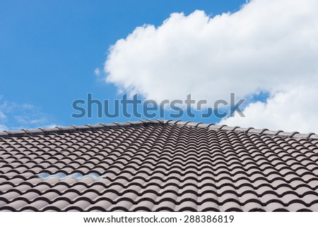 roof on a new house with blue sky