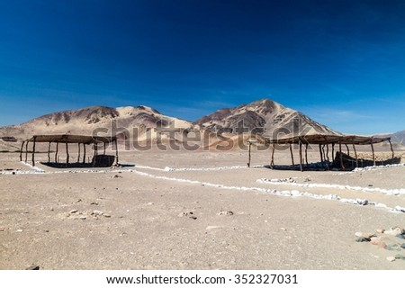 Roof protecting a tomb of Chauchilla cemetery in Nazca, Peru