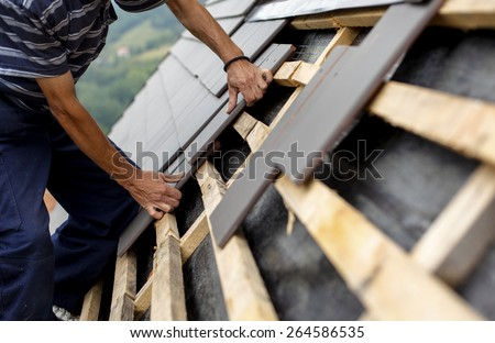 Roof reconstruction - stock photo