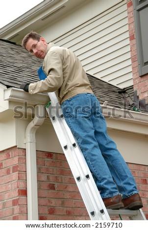 Contractor Installing Garage Door Opener Garage Stock