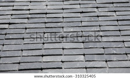 Roof slates in close-up - stock photo