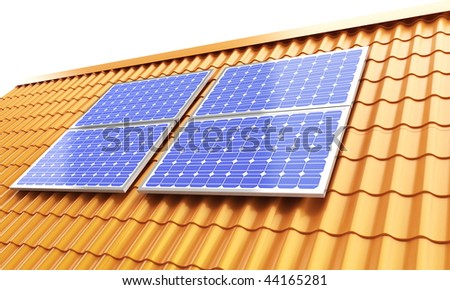 roof solar panels - stock photo