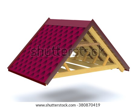 Roof structure  of wooden house on white background. - stock photo