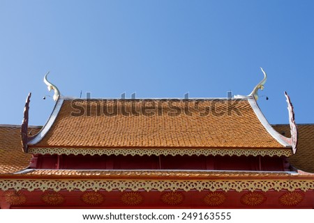 roof temple in chaimai thailand - stock photo