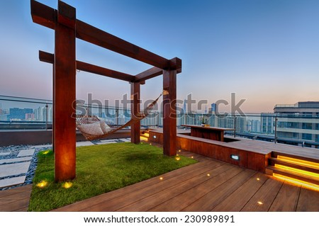 Roof terrace with hammock on a sunny day in Shanghai