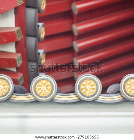 Roof texture of Tooth Relic Temple in Singapore - stock photo