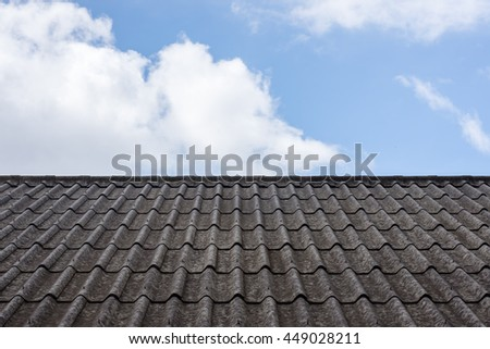 roof tile backdrop of sky and clouds.