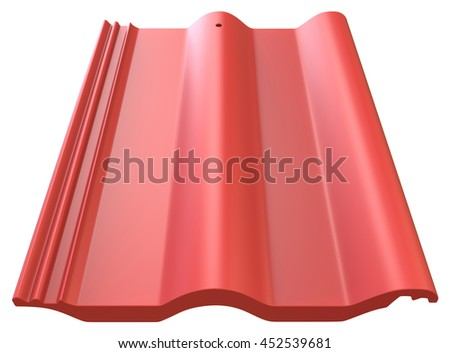 Roof tile isolated on white, 3D rendering - stock photo