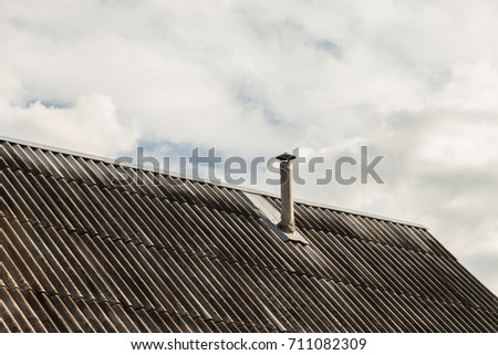 Roof Tile Roof With A Pipe