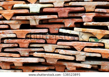 Roof tile stack in temple, Thailand - stock photo