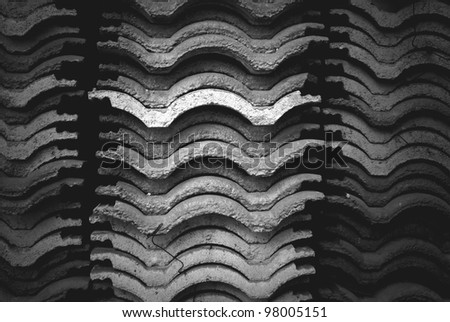 Roof tile stack with gradient gray - stock photo