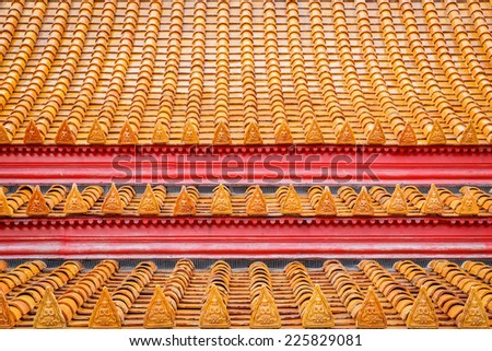 Roof tile texture in temple for background - stock photo