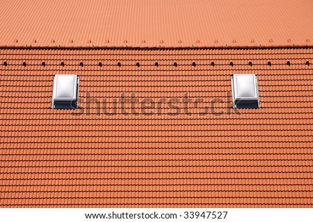 Roof tile texture with skylights - stock photo
