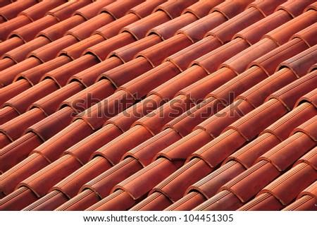 Roof tiles closeup detail - stock photo