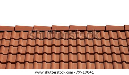 Roof tiles isolated on white background - stock photo