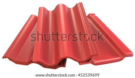Roof tiles isolated on white, 3D rendering - stock photo