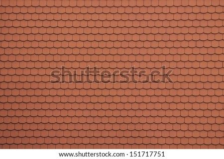 Roof tiles red on historic building - stock photo