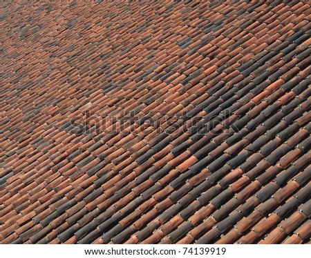 Roof tiles useful as a background