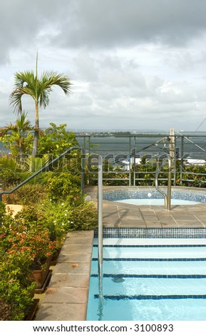 roof top plunge swimming pool and hot tub luxury hotel old san juan puerto rico - stock photo