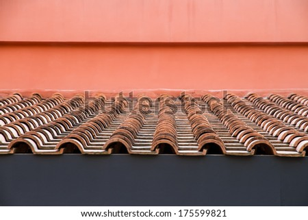 Roof Top with Red Tiles and wall color - stock photo