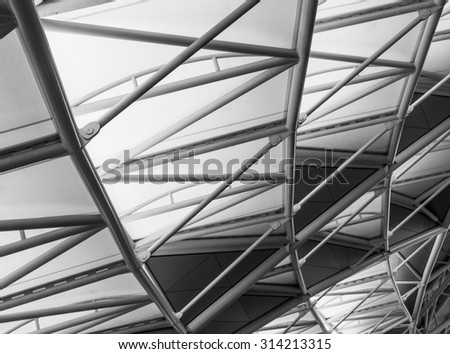 Roof Truss Structure with Black and White color - stock photo