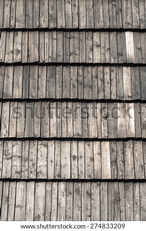 Roof - weathered wooden shingles - stock photo