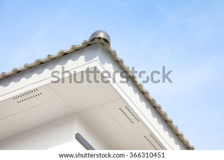 Roof with cloud and blue sky with copy space