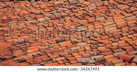 Roof with Old Tiles - stock photo