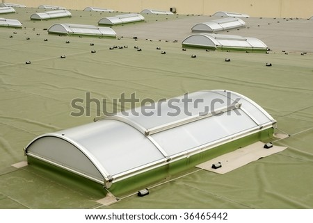 Roof with skylights - stock photo
