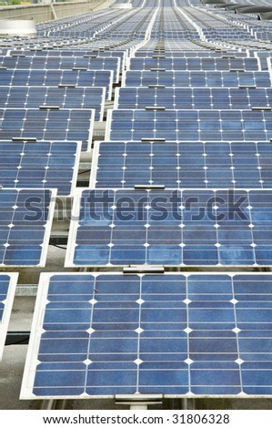 roof with solar installation - stock photo
