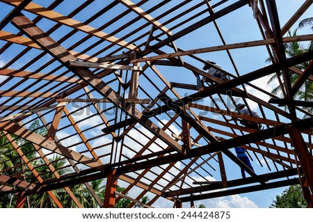 Roofer. - stock photo