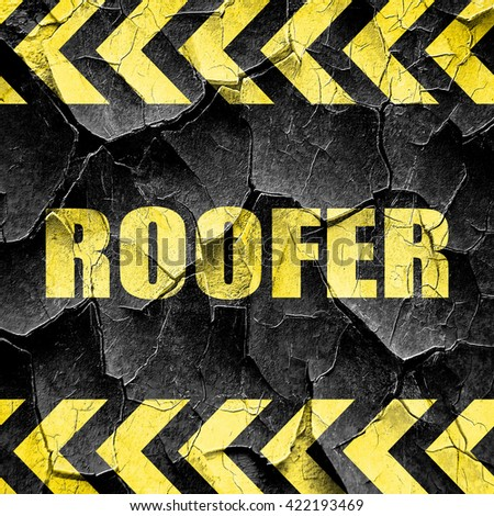roofer, black and yellow rough hazard stripes - stock photo