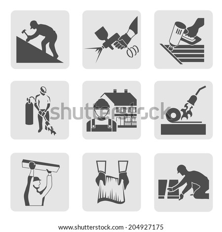 Roofer construction worker tradesman house builder icons set isolated  illustration - stock photo