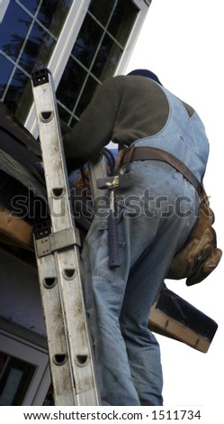 roofer on the ladder