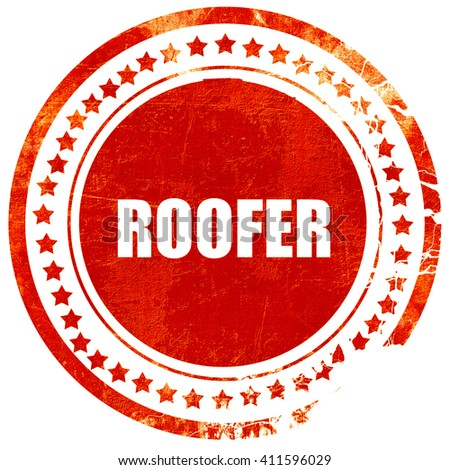 roofer, red grunge stamp on solid background - stock photo