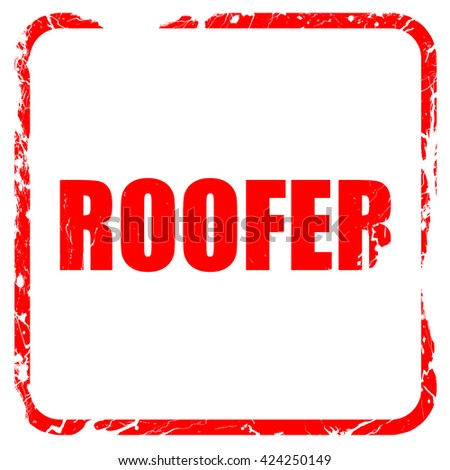 roofer, red rubber stamp with grunge edges - stock photo