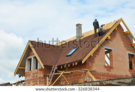 Awesome Roofing Construction And Building New Brick House With Modular Chimney,  Skylights, Attic, Dormers