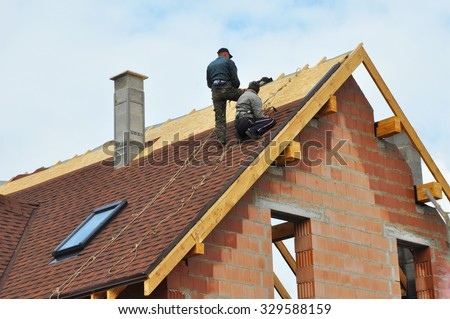 Roofing Construction And Building New Brick House With Modular Chimney,  Skylights, Attic, Dormers
