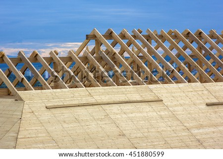 Roofing Construction. Wooden Roof Frame House Construction - stock photo