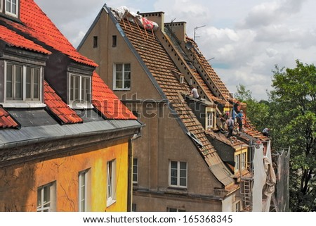 roofing works - stock photo