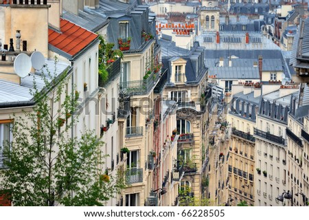 Roofs and balcony in residential quarter of Montmartre in Paris - stock photo