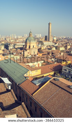 roofs and view to city in Italy - stock photo