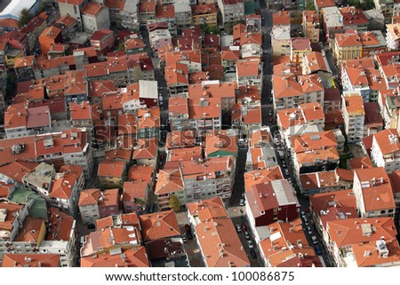 Roofs from air in Istanbul, Turkey